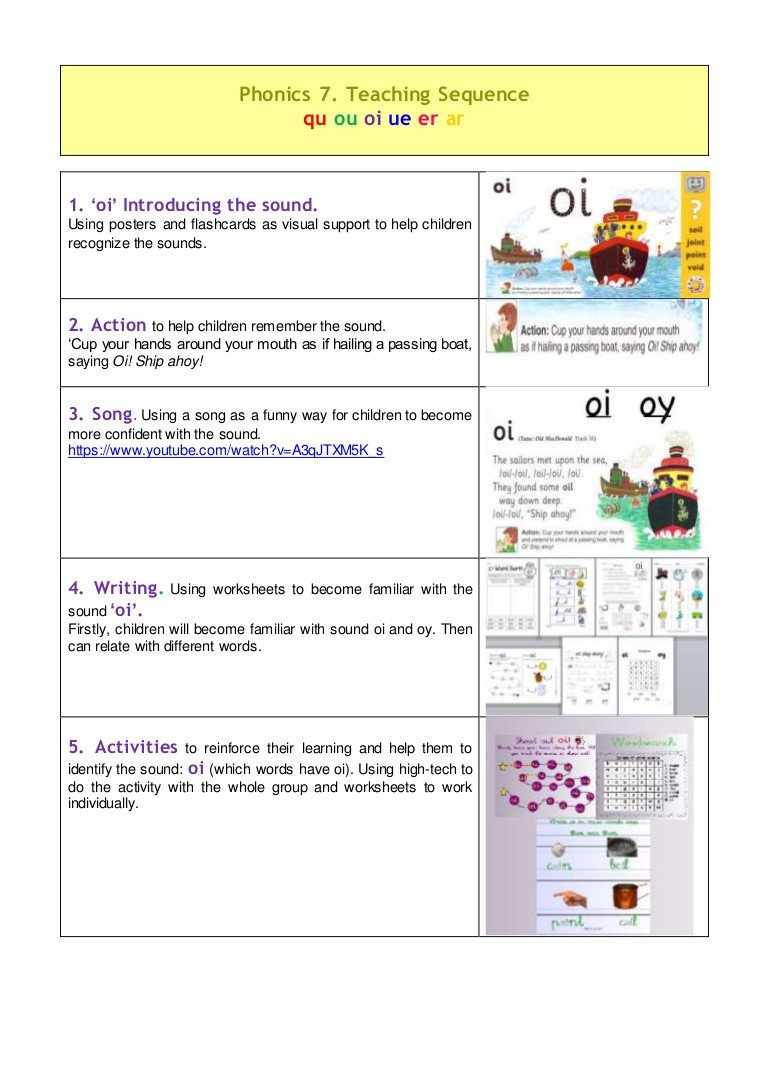 Oy Oi Worksheets Teaching Sequence Oi