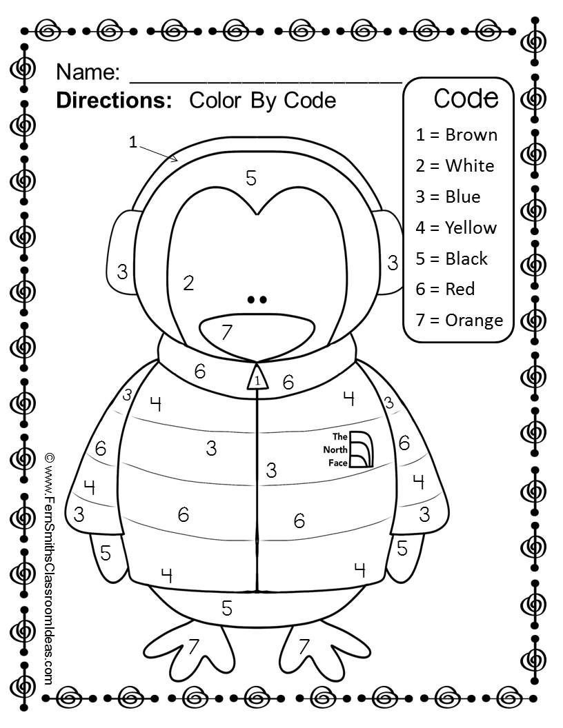 Penguin Worksheets for Kindergarten Free Winter Fun Numbers Color Your Answers Printable