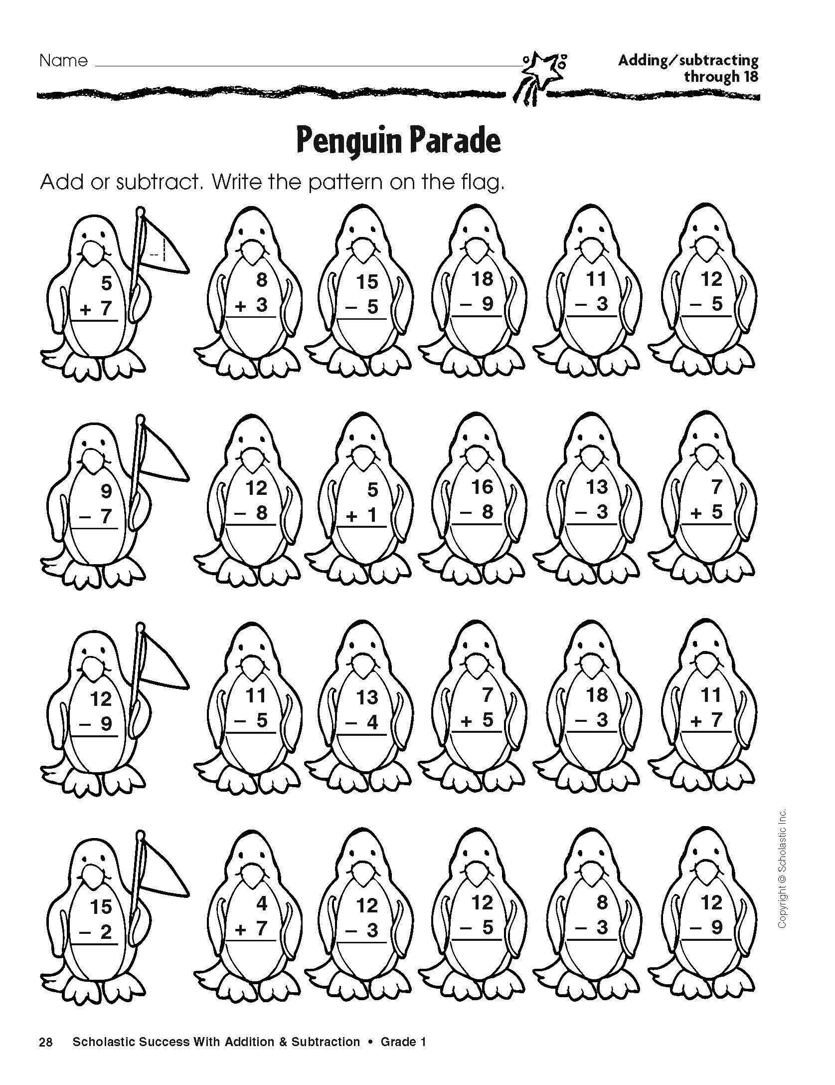 Penguin Worksheets for Kindergarten Scholastic Free Winter Addition and Subtraction Worksheets