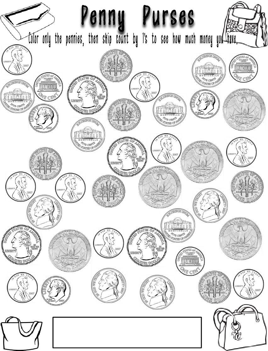 Penny Worksheets for Kindergarten Coin Coloring Pages
