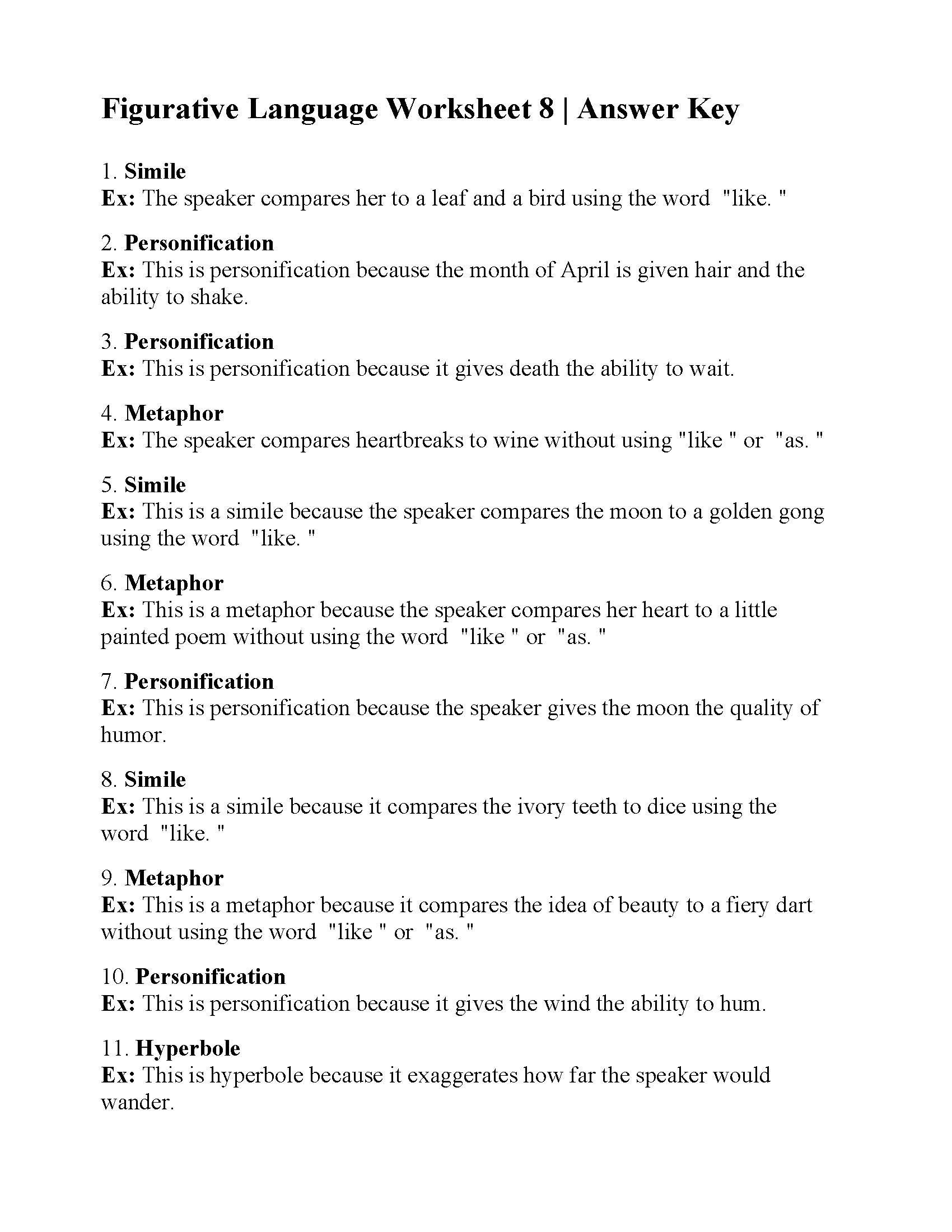figurative language worksheet answers printable worksheets my math answer generator