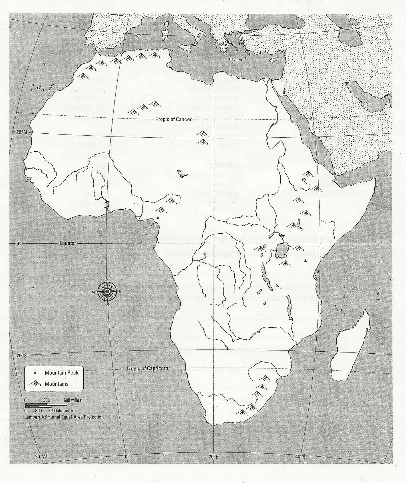 Physical and Political Maps Worksheets Blank Physical Map Africa