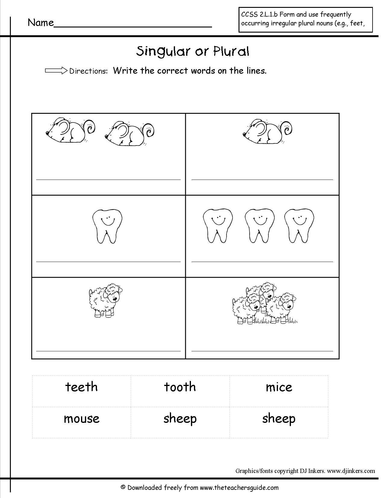 Plurals Worksheet 3rd Grade Irregular Plural Nouns Worksheet