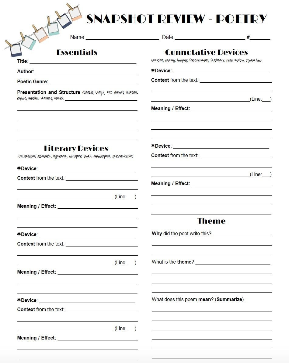Poetry Practice Worksheets Review Poetry In A Snap with This One Page Worksheet