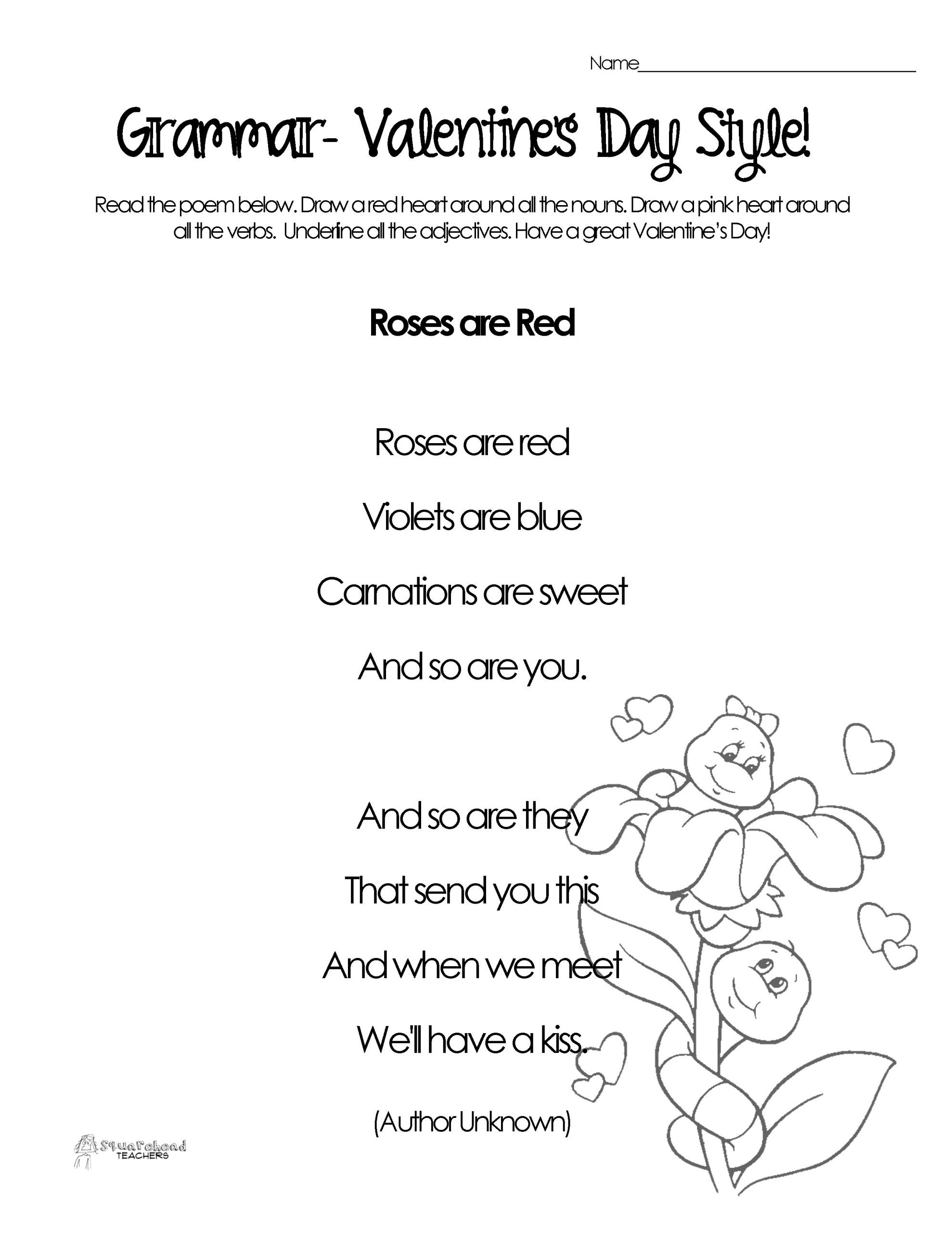 Poetry Practice Worksheets Silly Valentine S Day Poems for Grammar Practice Free