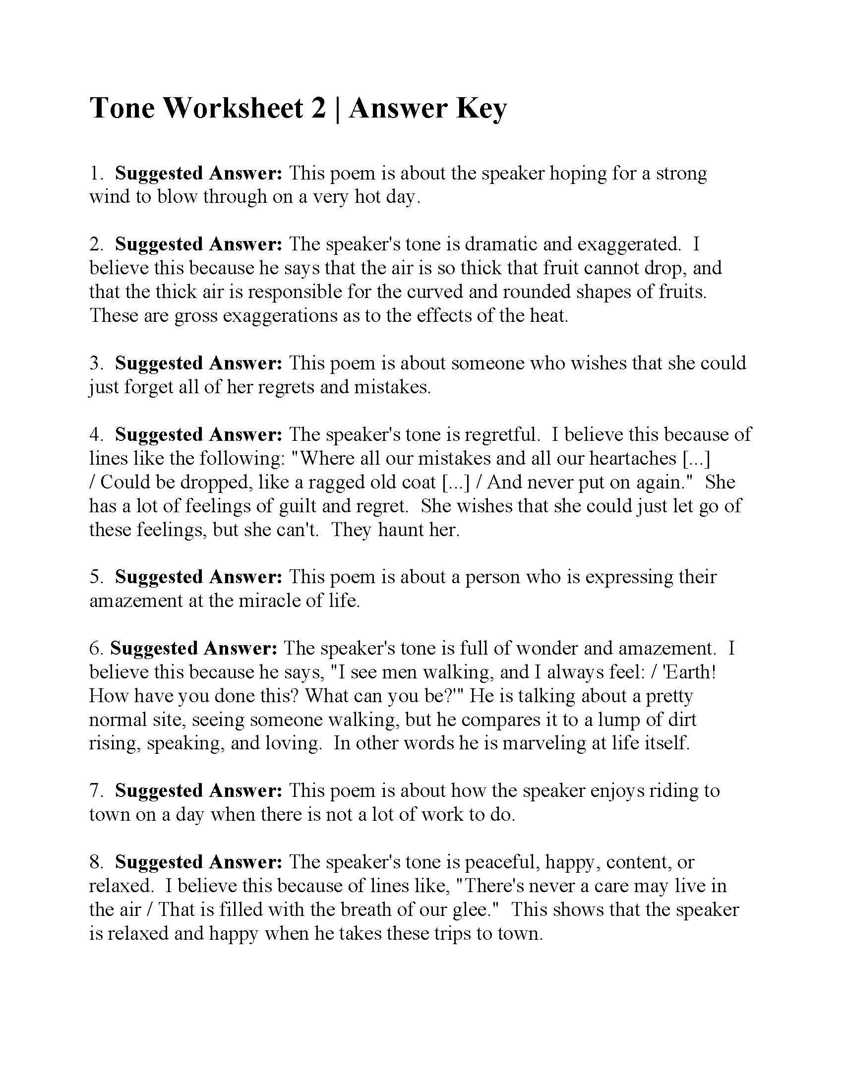 Poetry Practice Worksheets This is the Answer Key for the tone Worksheet 2