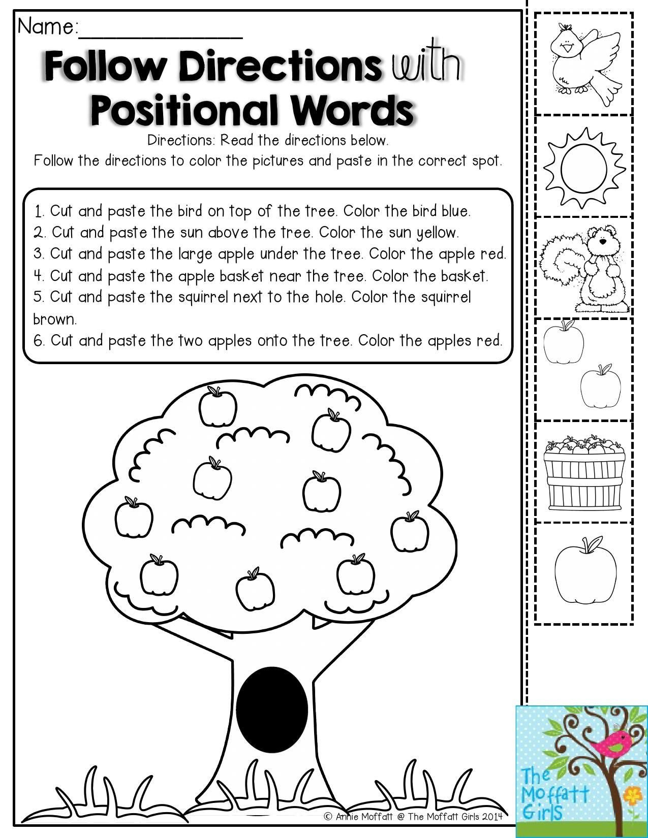 Positional Word Worksheets Back to School Packets