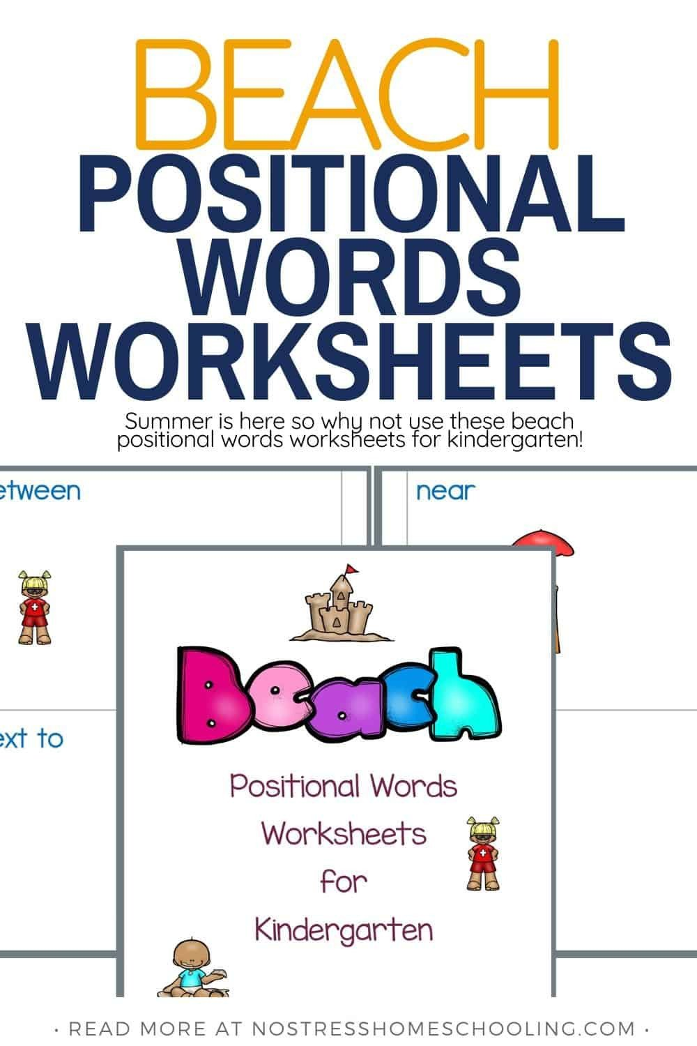 Positional Word Worksheets Beach Positional Words Worksheets for Kindergarten