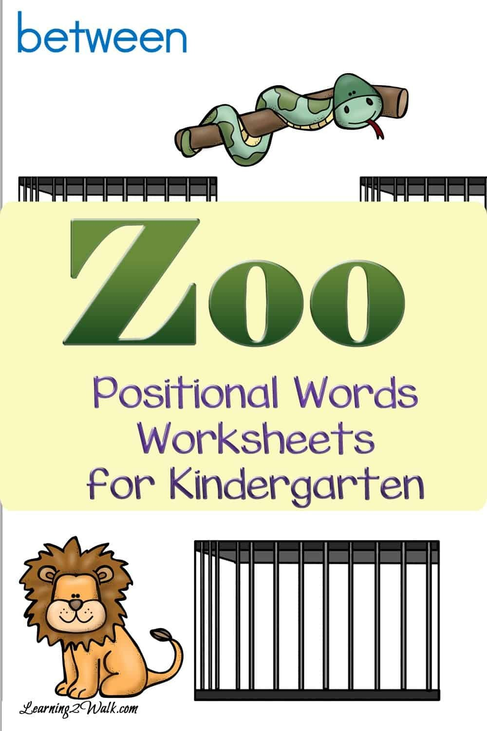 Positional Word Worksheets Zoo Positional Words Worksheets for Kindergarten