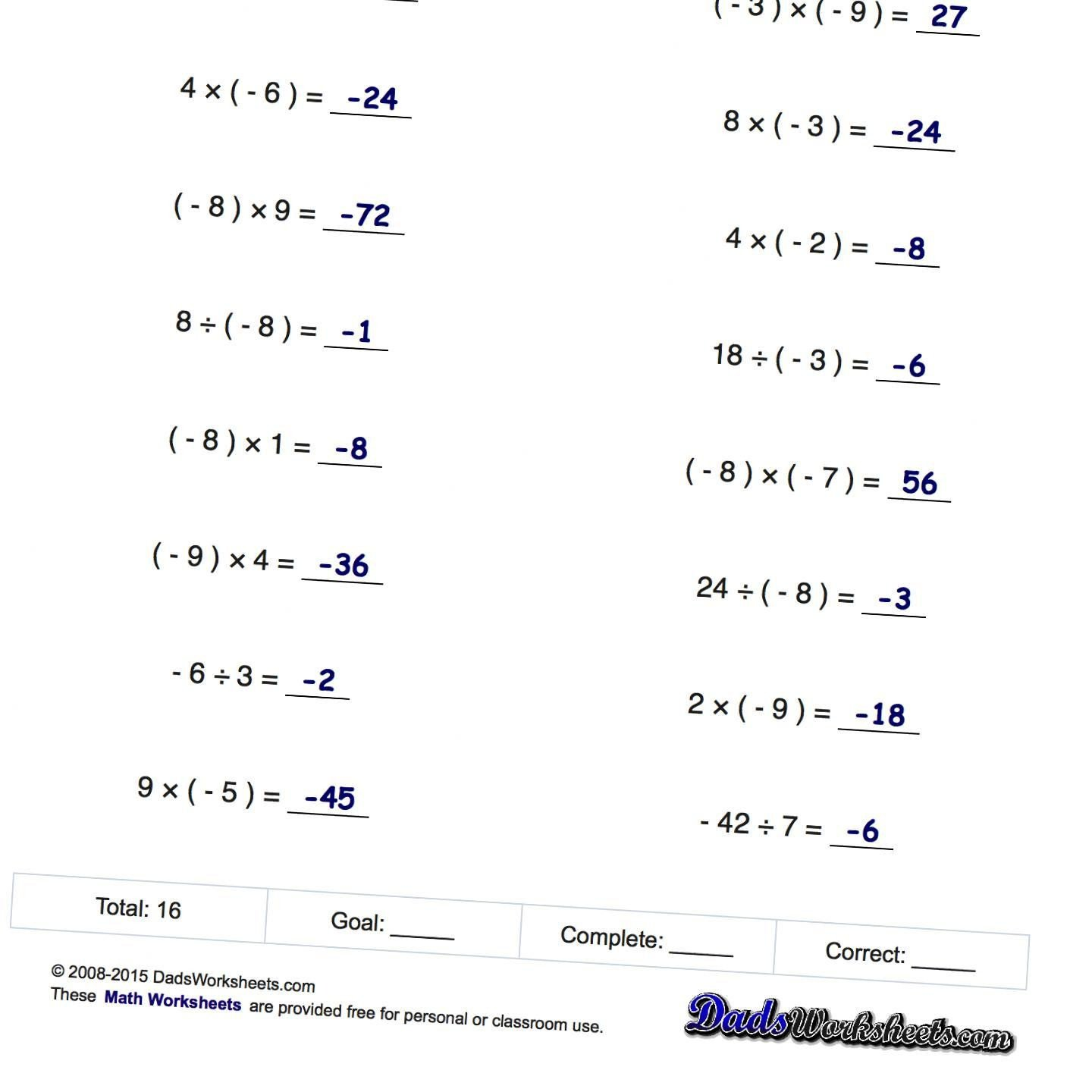multiplying positive and negative numbers worksheets 3