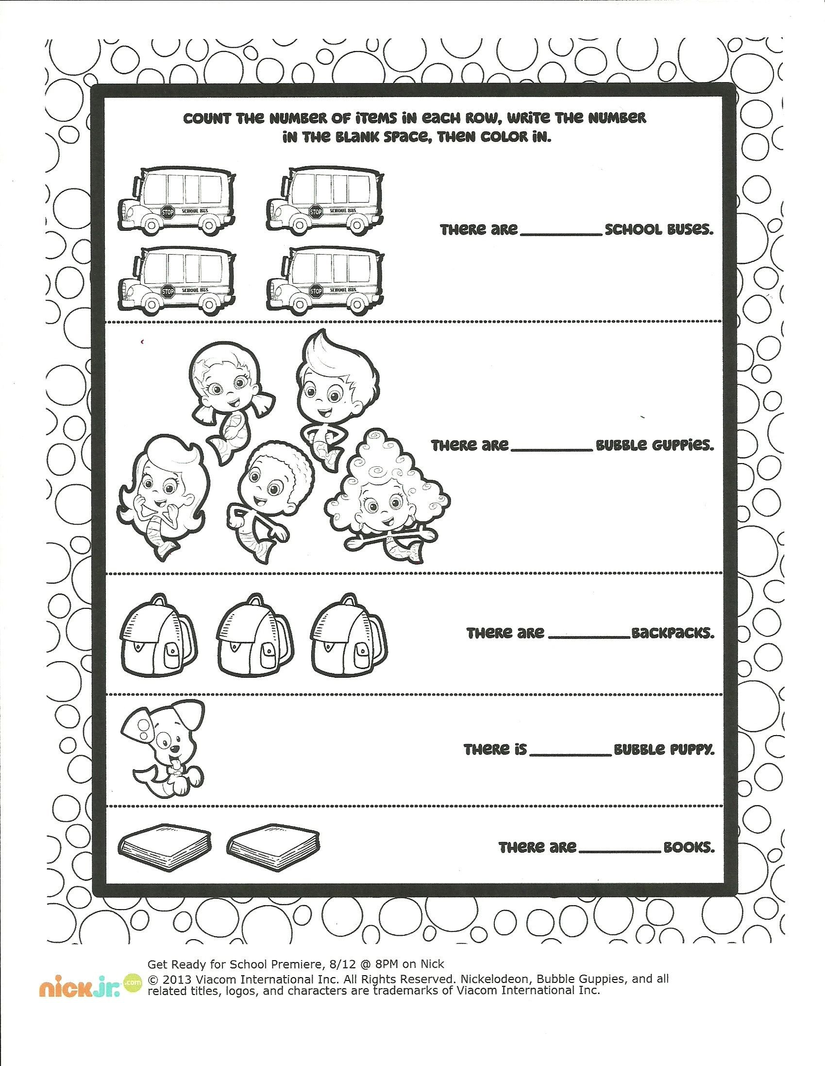 Positive Parenting Worksheets Bubble Guppies Color and Count