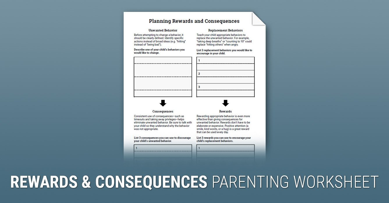 Positive Parenting Worksheets Planning Rewards and Consequences Worksheet
