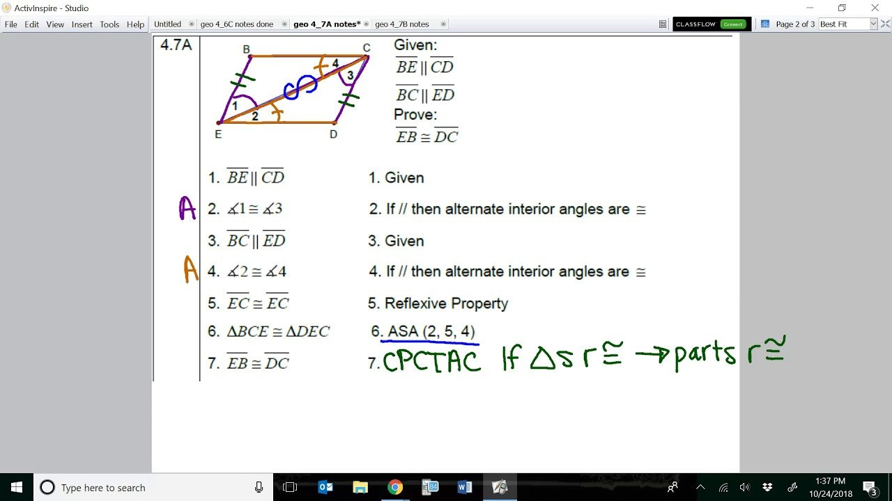 Pre Ap Geometry Worksheets Cabo Settle Amanda Chapter 4 Geometry