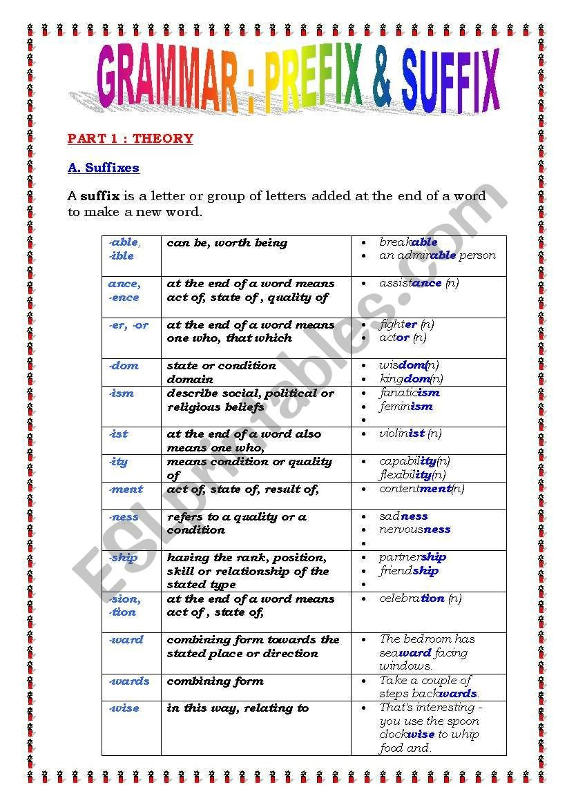 Prefixes and Suffixes Worksheets Pdf Suffix & Prefix 5 Pages Exercises and Answers Esl