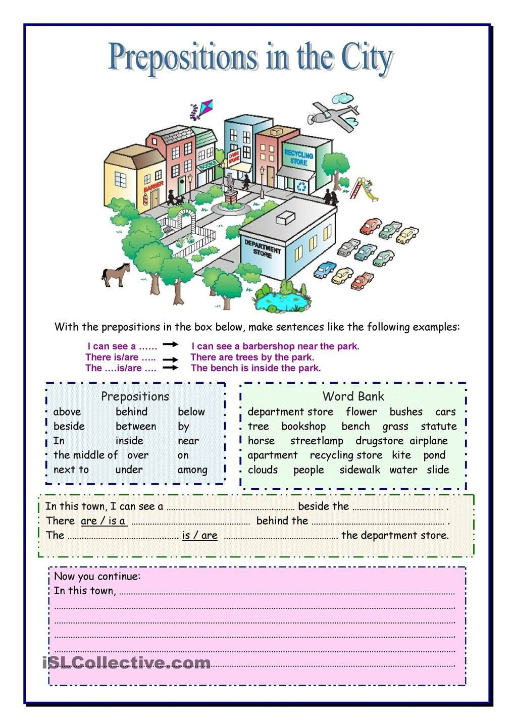 Preposition Worksheets Middle School Prepositions In the City