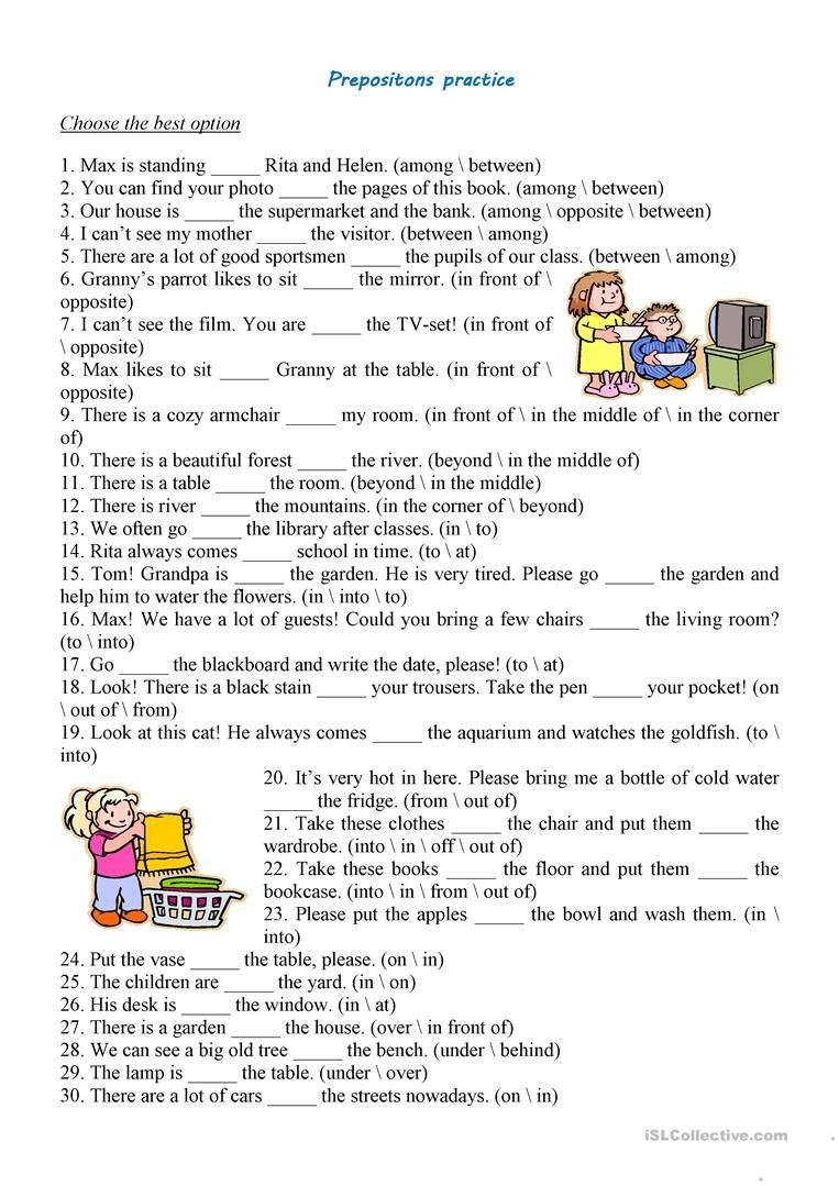 Preposition Worksheets Middle School Prepositions Practice Worksheet Free Esl Printable