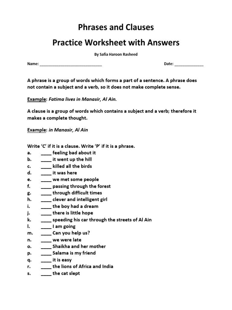 Prepositional Phrases Worksheet 6th Grade Phrases and Clauses Practice Worksheet
