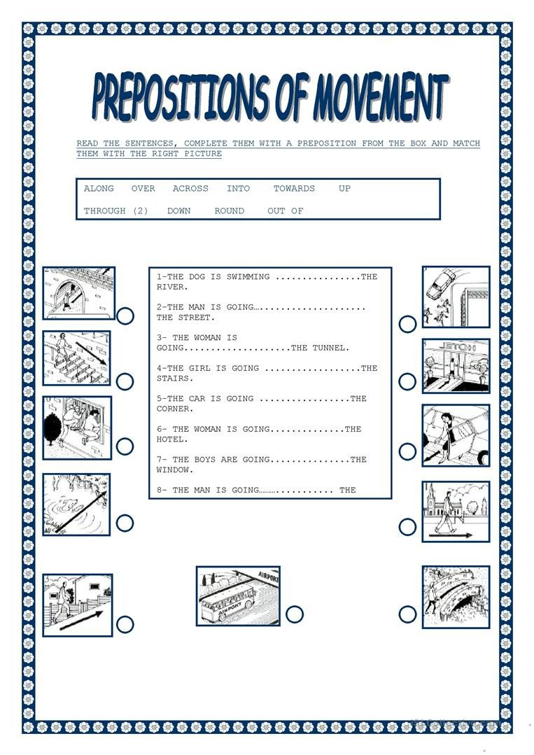 Prepositions Worksheets Middle School Preposition Movement English Esl Worksheets for Distance