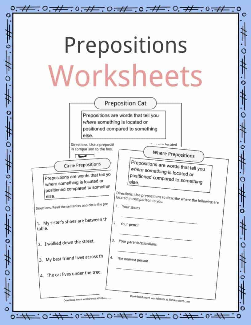 Prepositions Worksheets Middle School Prepositions Definition Worksheets & Examples In Text for Kids