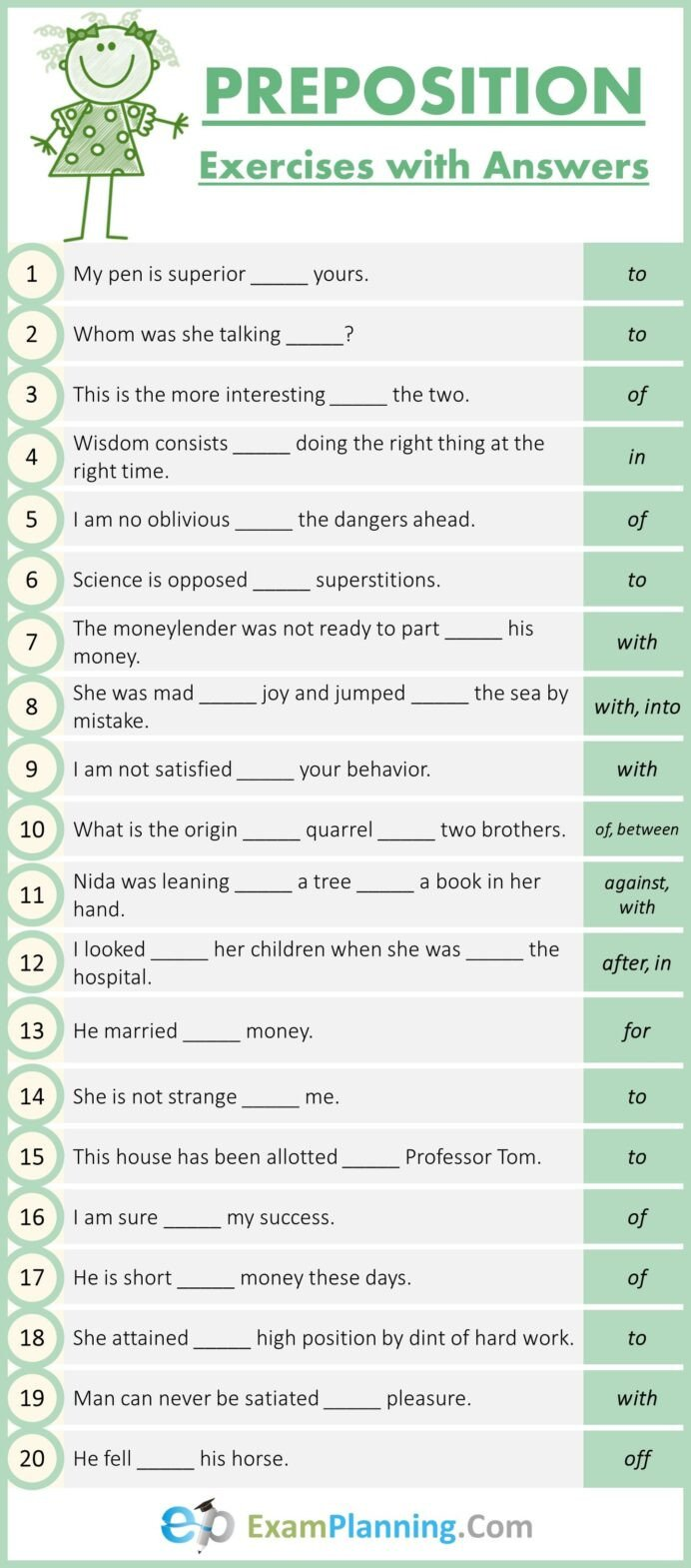 Prepositions Worksheets Middle School Prepositions Worksheet Preposition Worksheets English