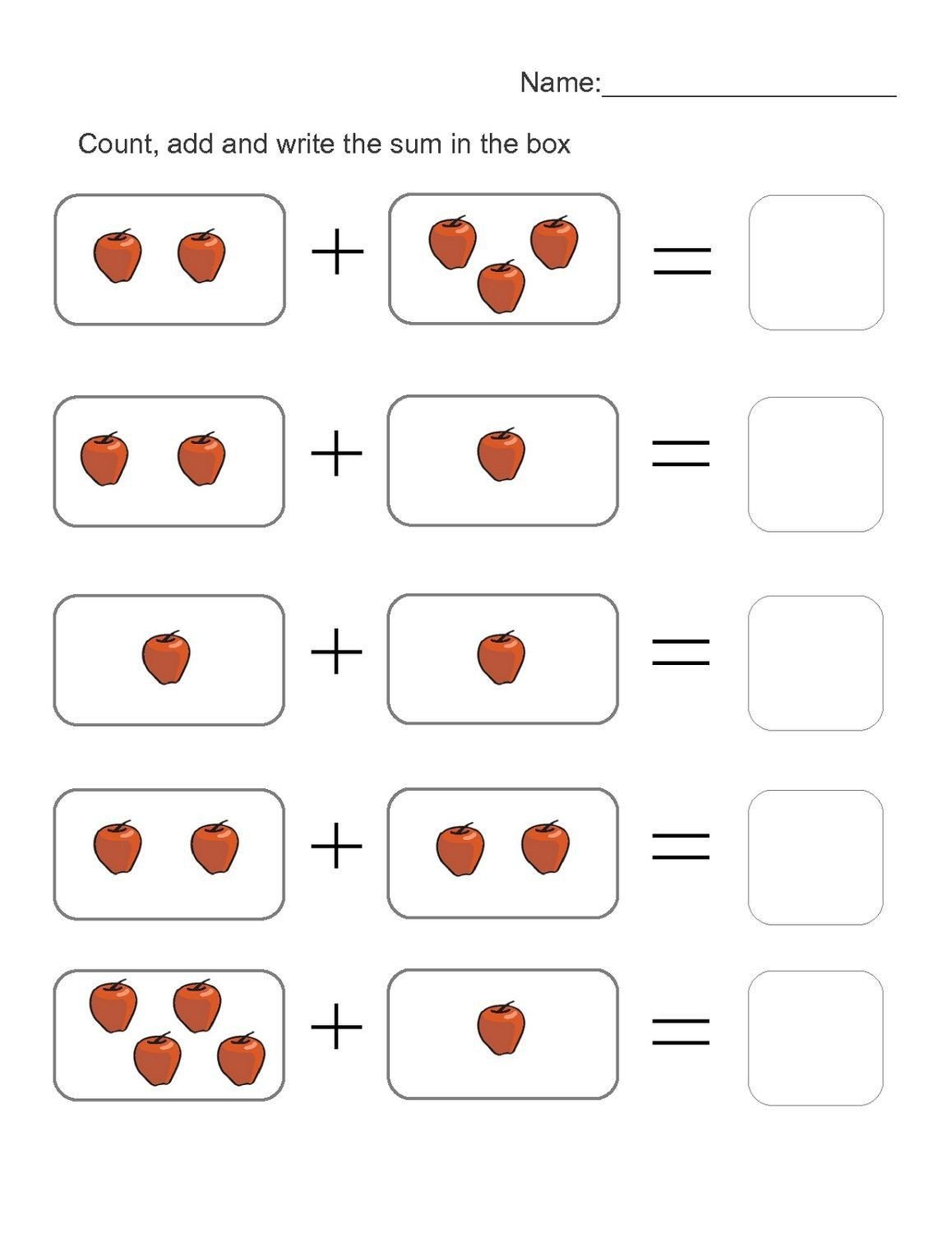 Preschool Addition Worksheets Printable 5 Count the Fruit Addition Worksheets In 2020