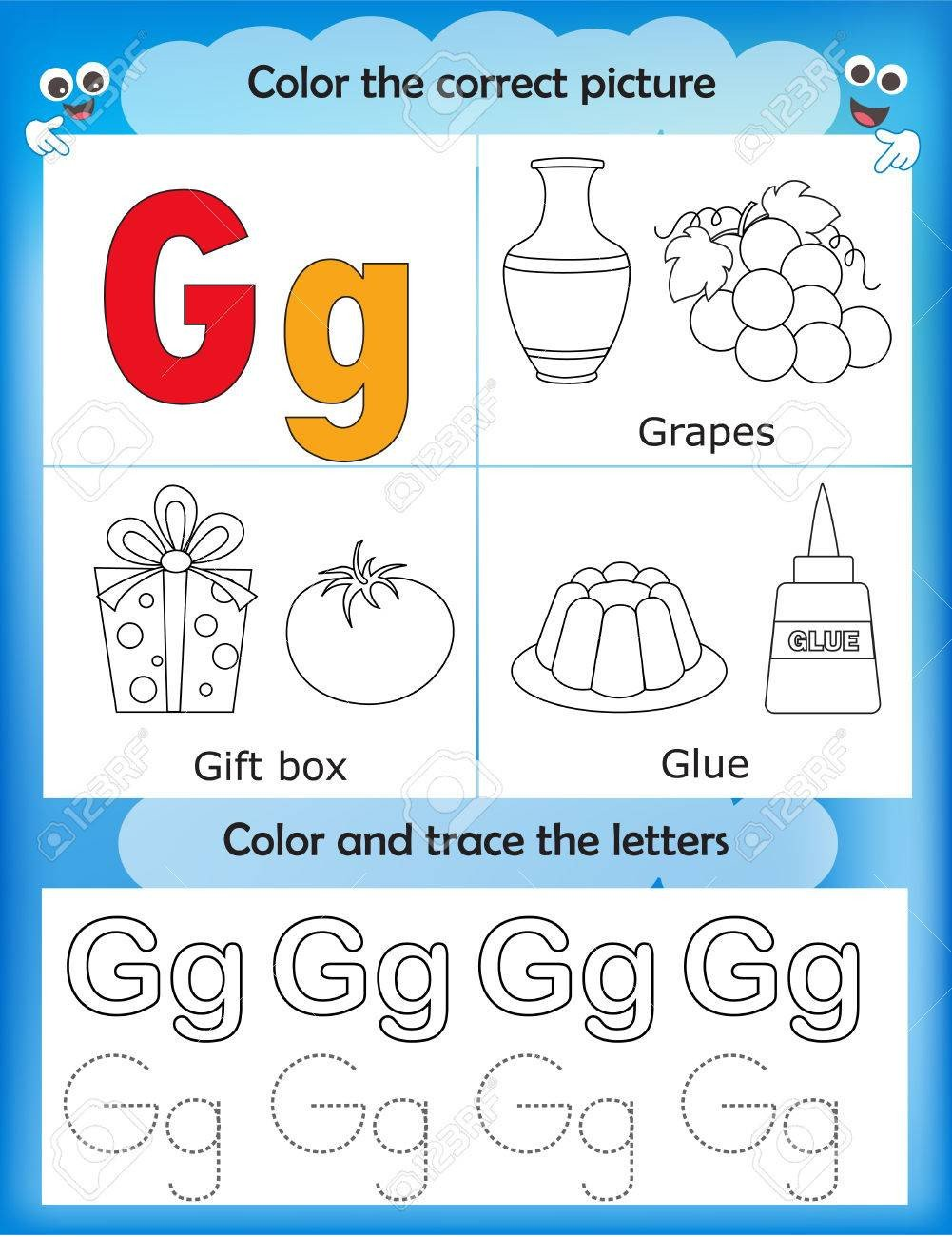 Preschool Letter G Worksheets Alphabet Learning Letters & Coloring Graphics Printable Worksheet