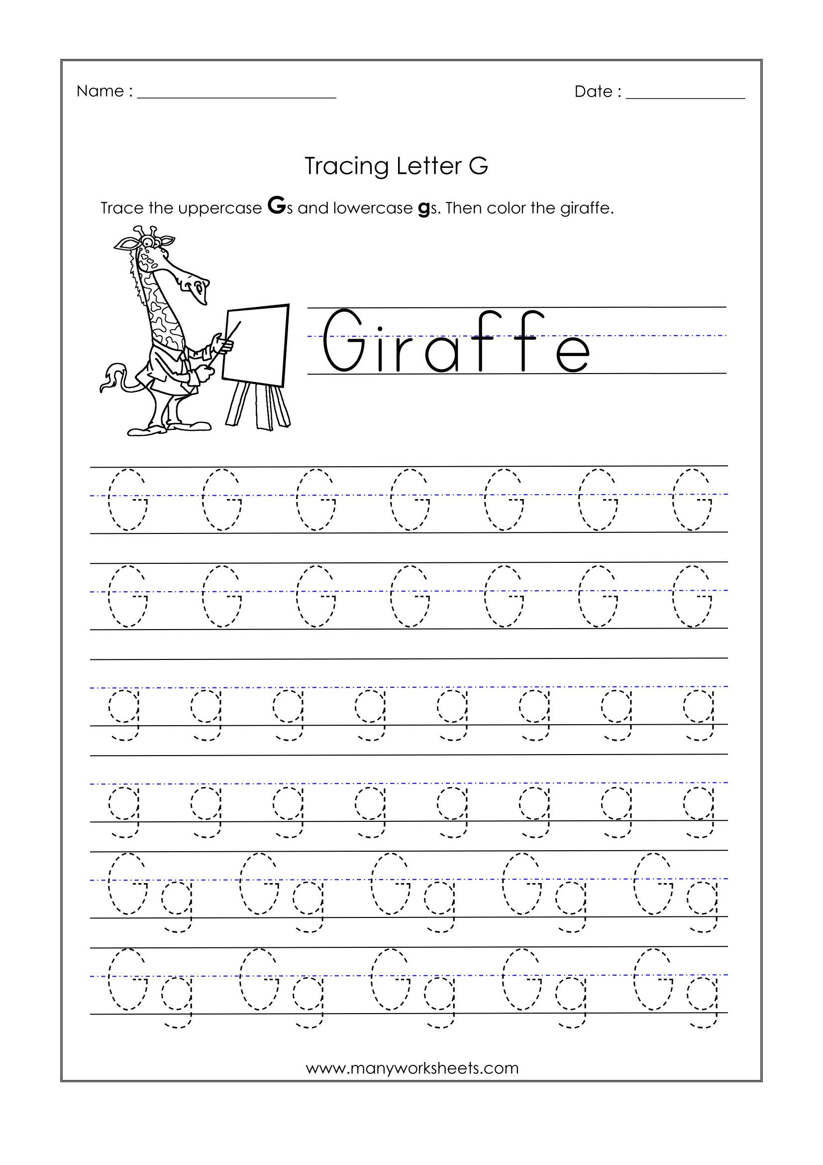 Preschool Letter G Worksheets Letter G Worksheets for Kindergarten – Trace Dotted Letters