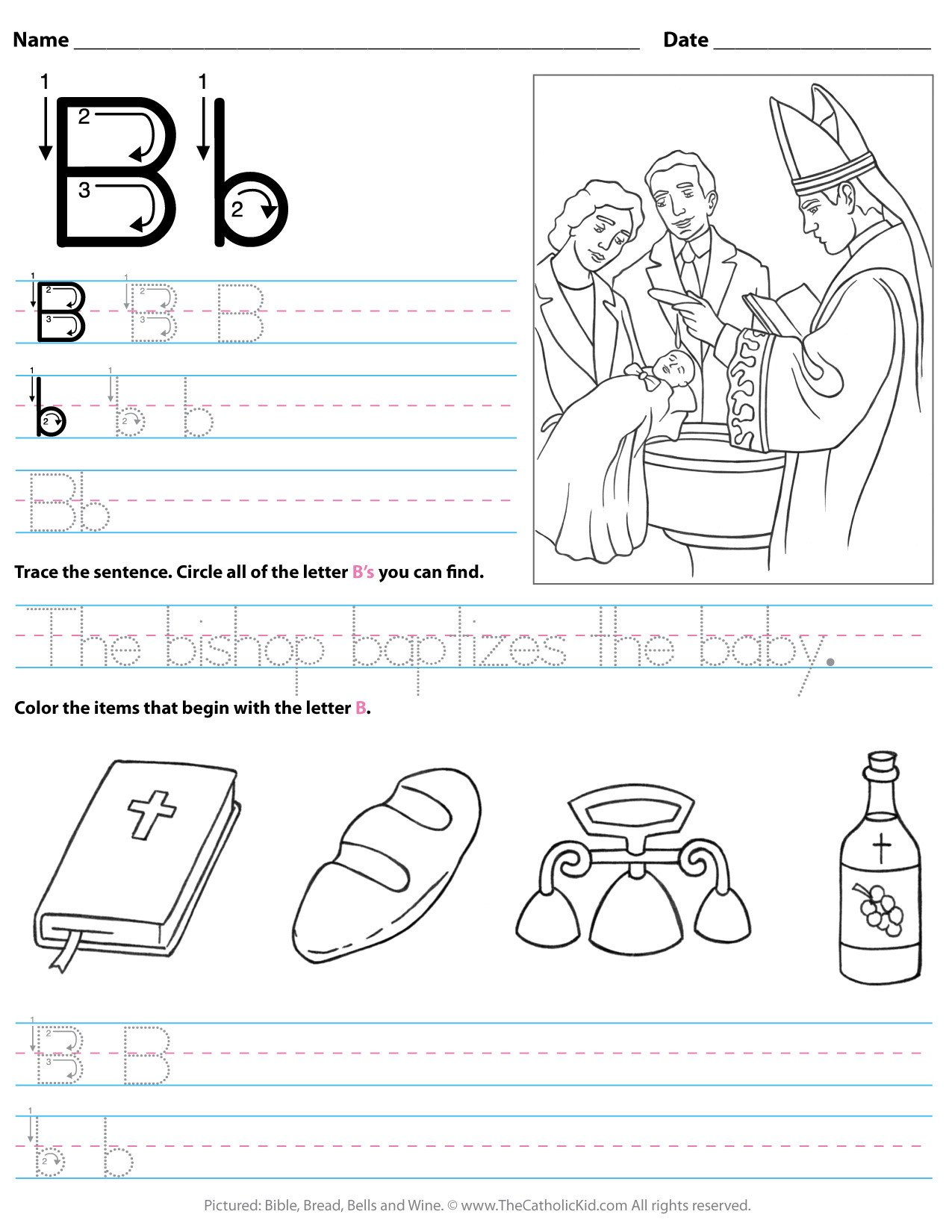 Preschool Worksheets Letter B Catholic Alphabet Letter B Worksheet Preschool Kindergarten