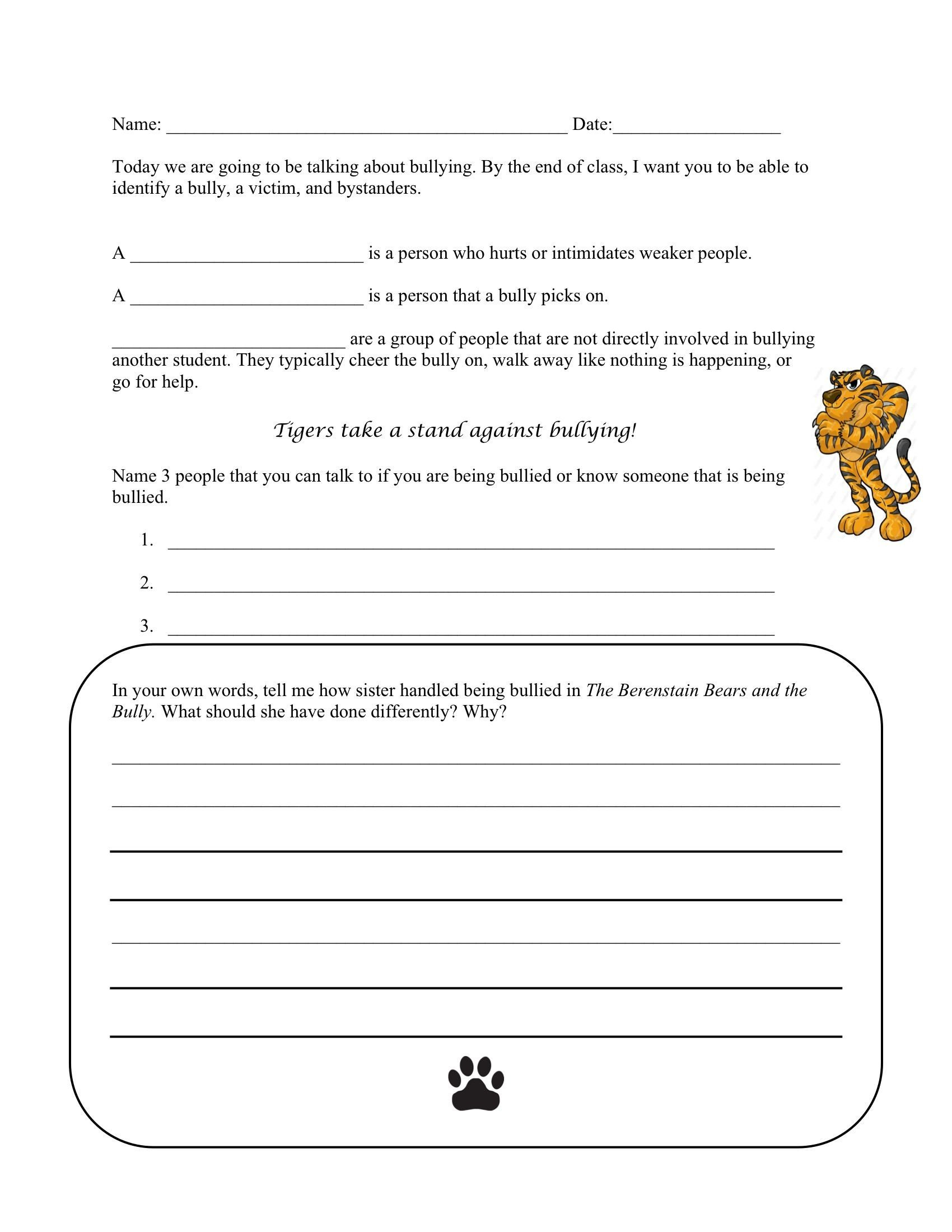 Bullying Worksheet to go along with The Berenstain Bears and