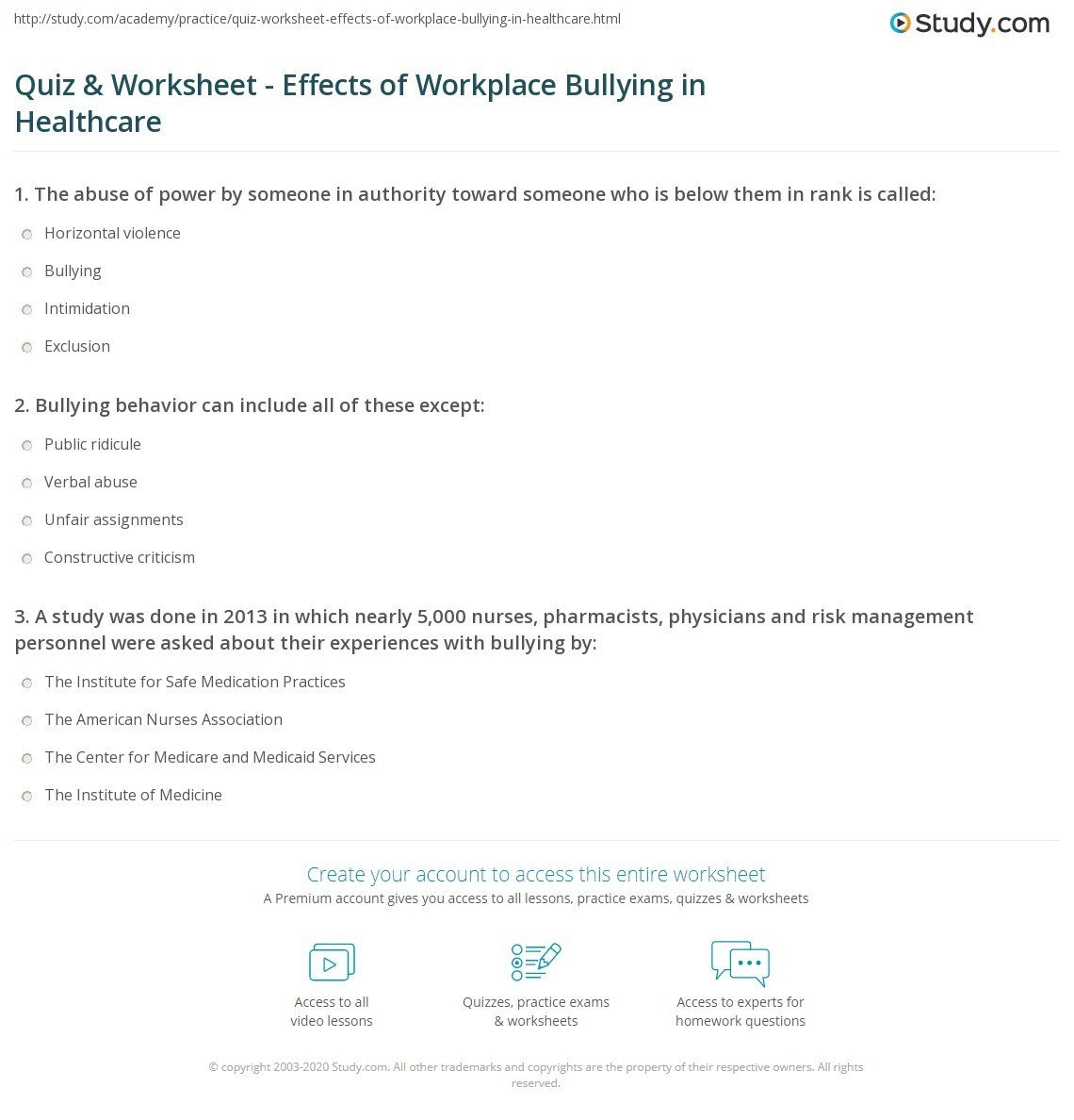 quiz worksheet effects of workplace bullying in healthcare