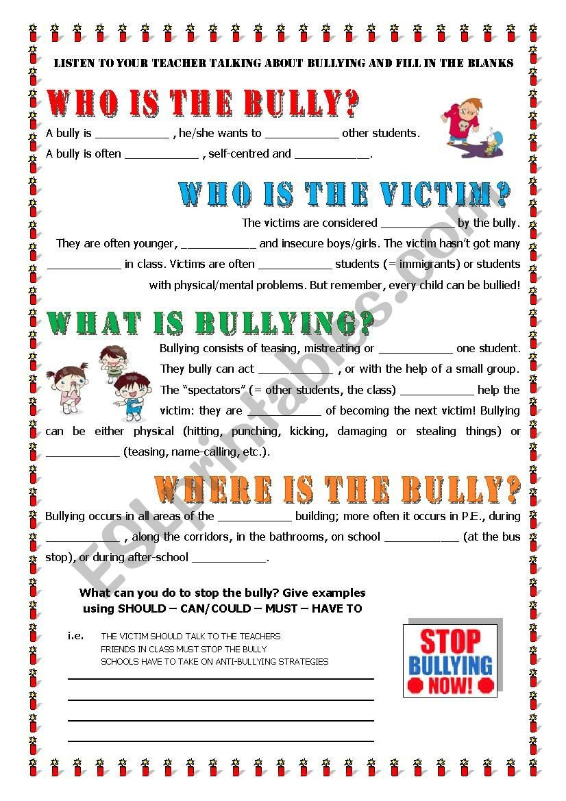 Printable Bullying Worksheets Key Informaton About Bullying Esl Worksheet by Alex076