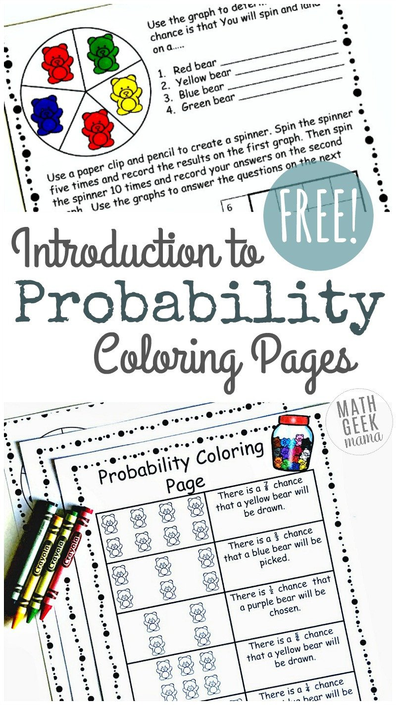 Probability Worksheet 5th Grade Simple Coloring Probability Worksheets for Grades 4 6 Free