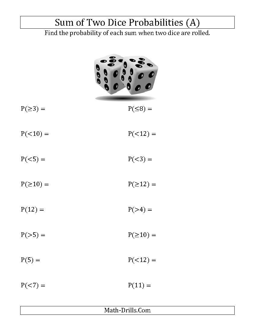 Probability Worksheet 5th Grade Sum Of Two Dice Probabilities A Statistics Worksheet