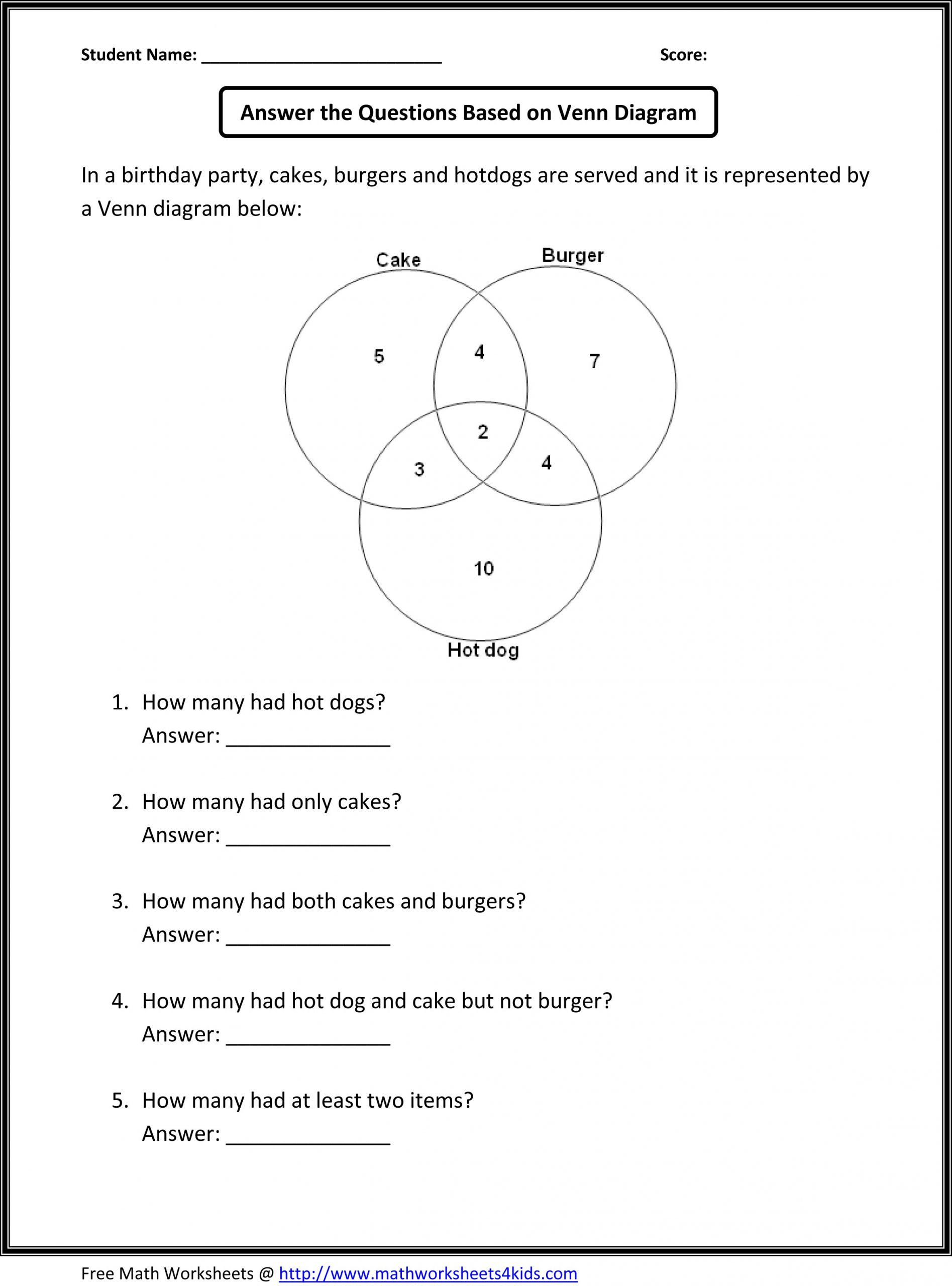 Probability Worksheet 5th Grade Venn Diagram Practice Worksheet