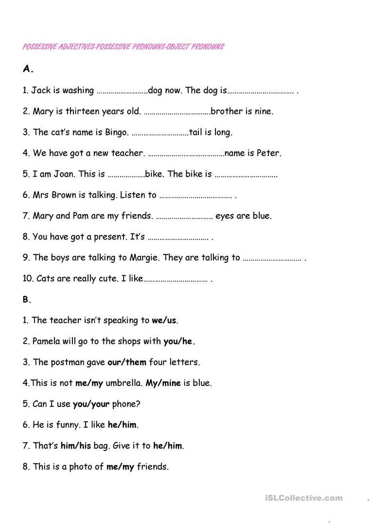 Pronoun Worksheets 5th Grade Possessive Pronouns Worksheet 5th Grade Possessive