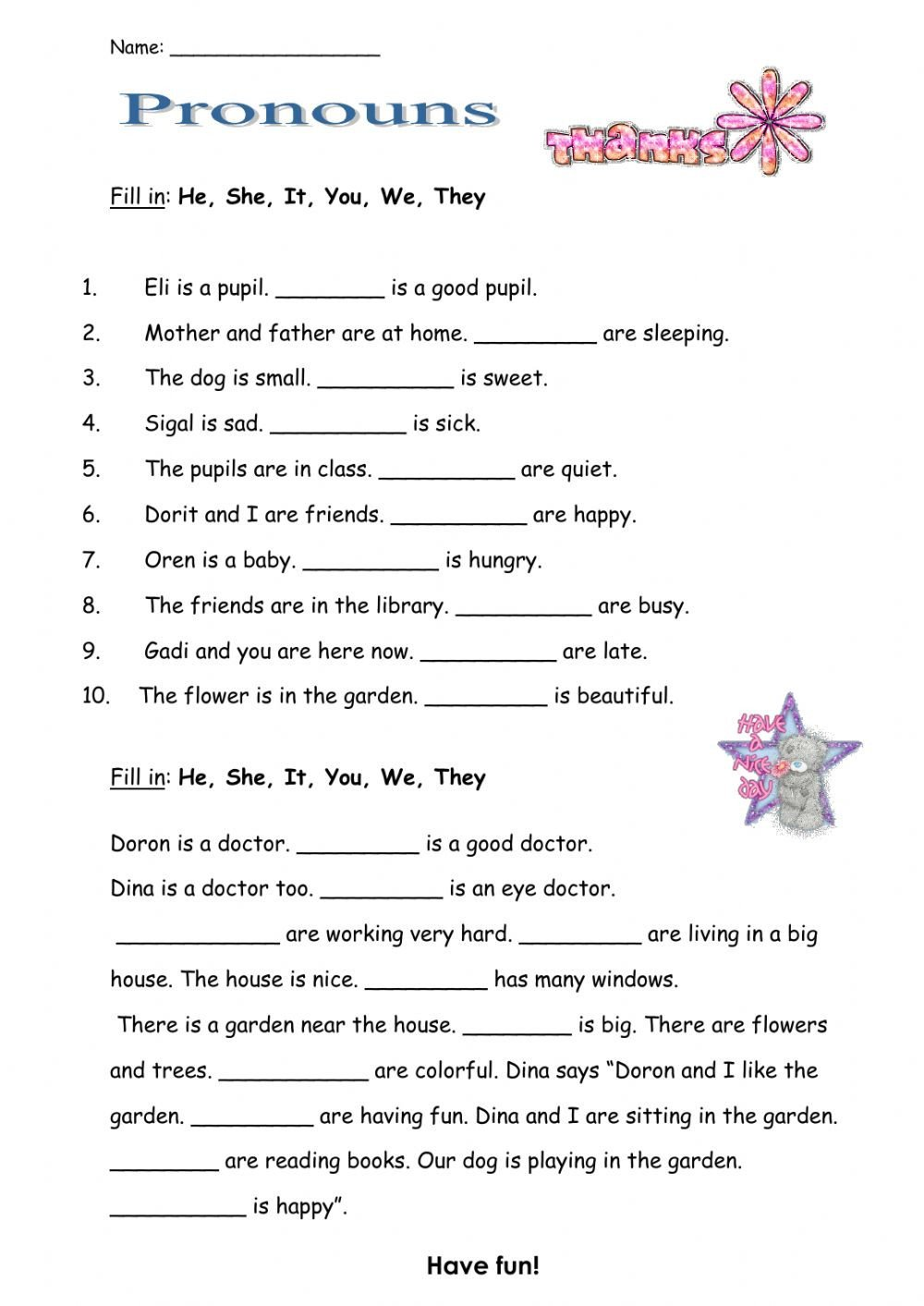 Pronoun Worksheets 5th Grade Pronouns Interactive Worksheet