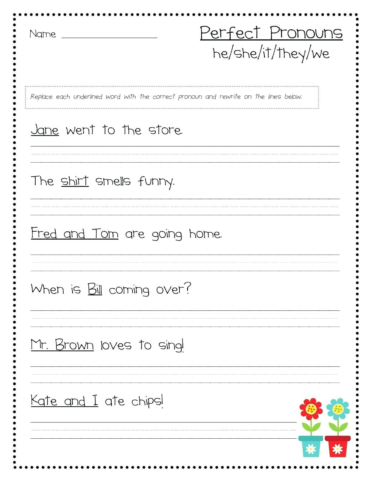 Pronoun Worksheets for 2nd Graders Pronoun Worksheets Fourth Grade