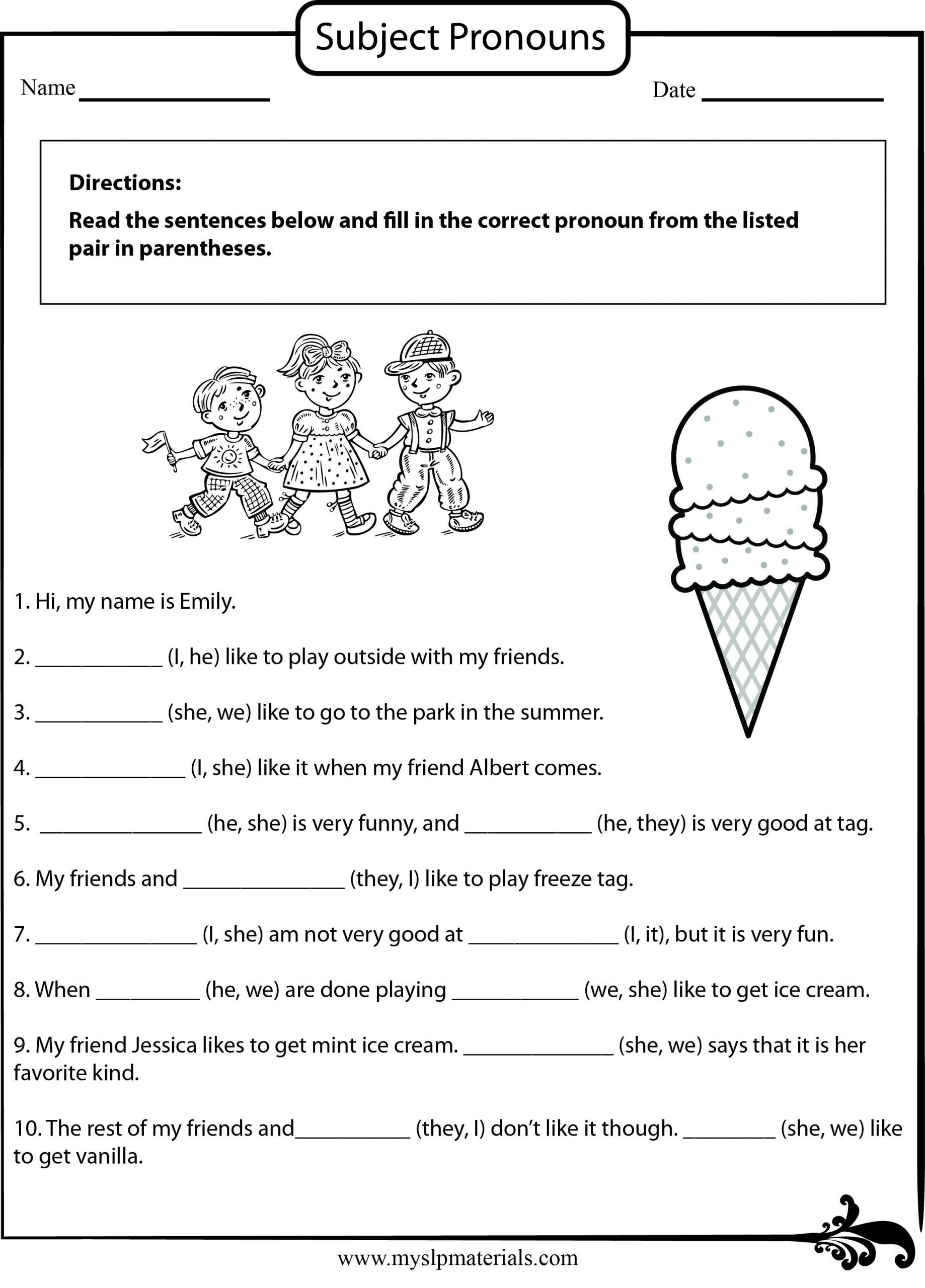 Pronoun Worksheets for 2nd Graders Subject Pronoun Speech