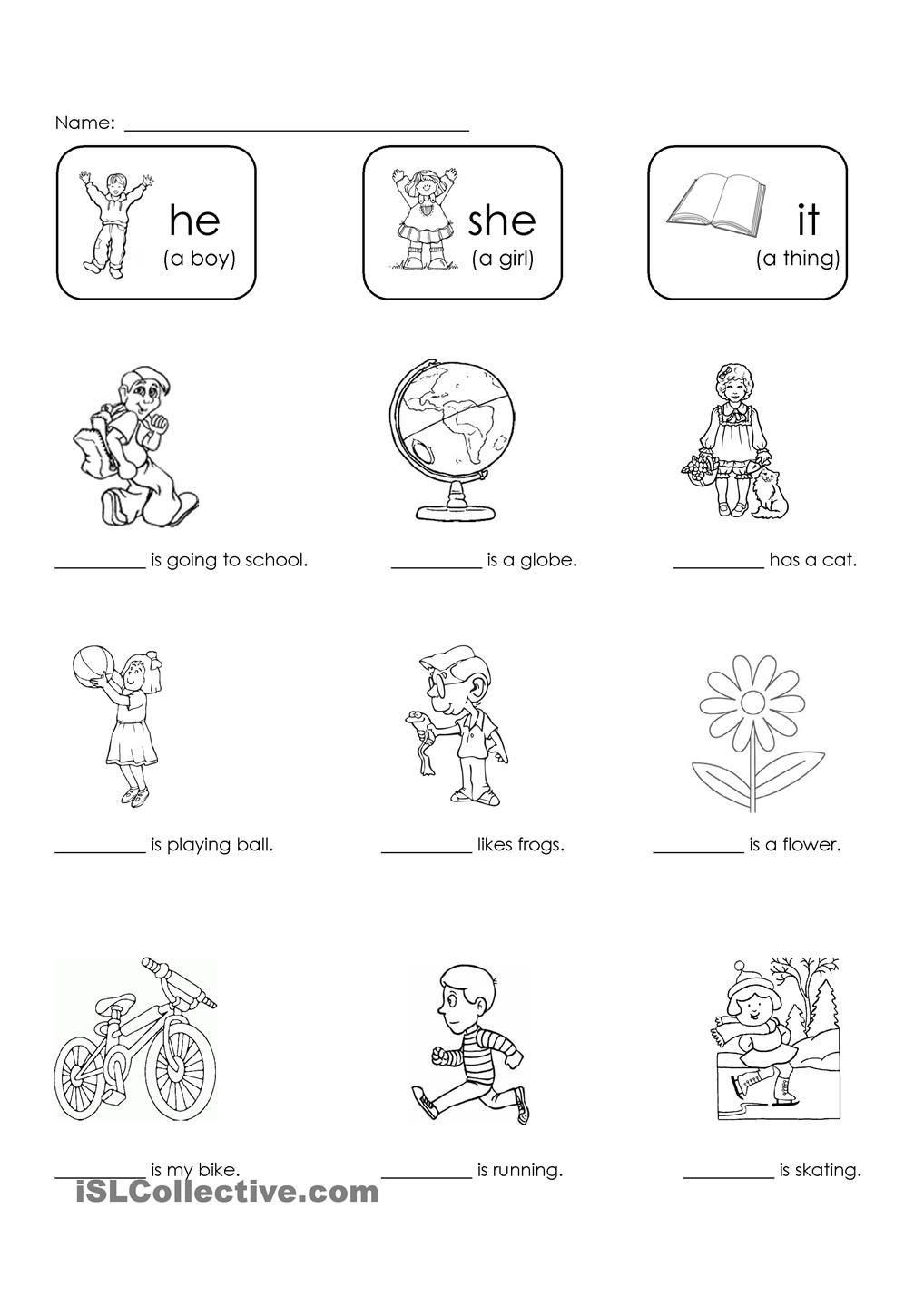Pronoun Worksheets for Kindergarten Free He She or It