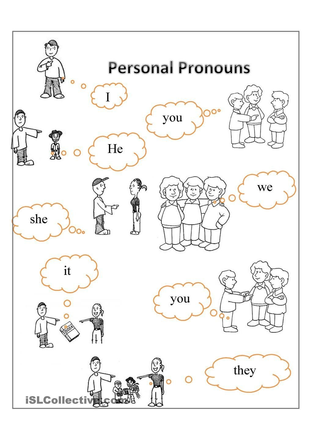 Pronoun Worksheets for Kindergarten Free Personal Pronouns