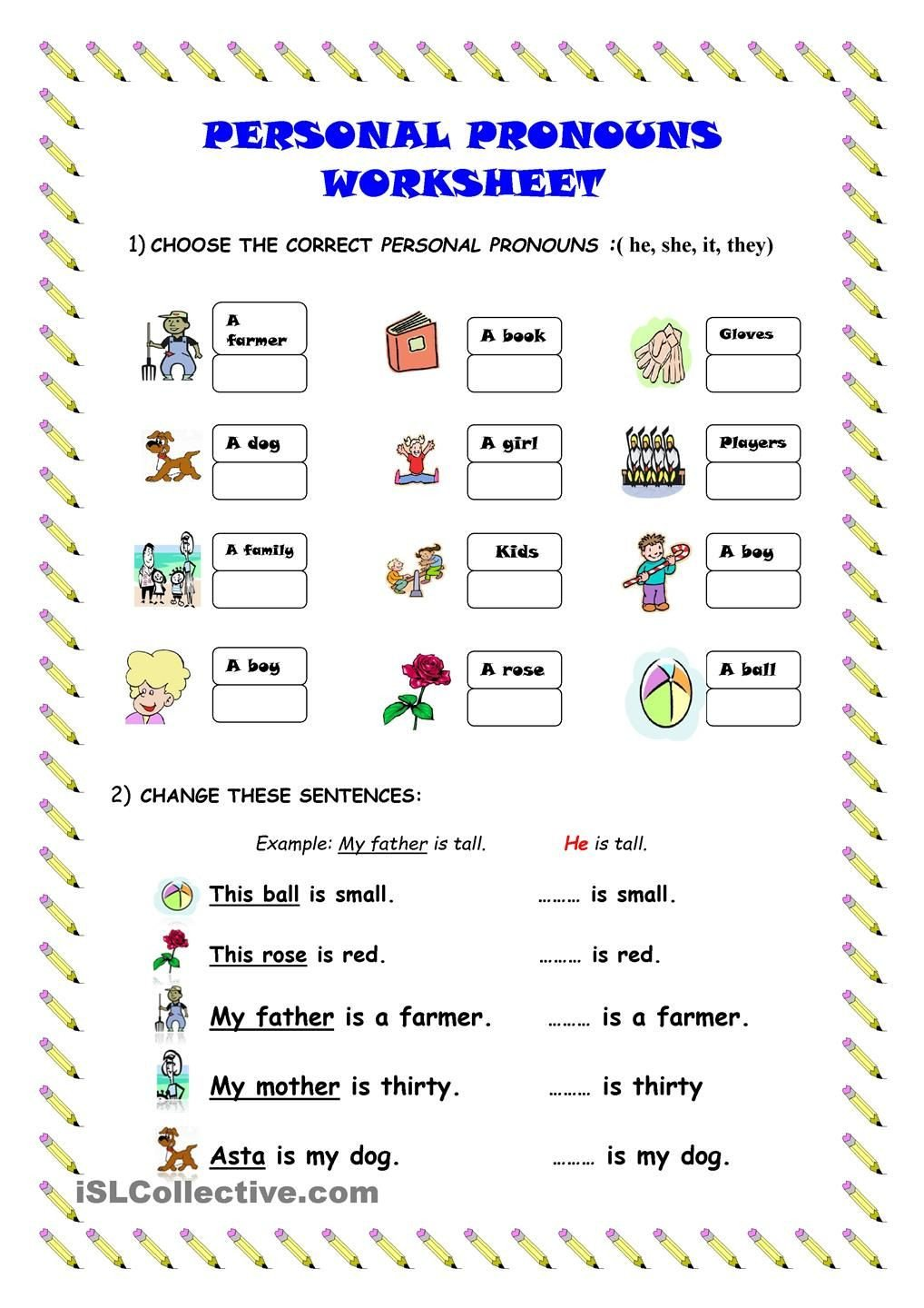 Personal pronouns worksheet kindergarten level