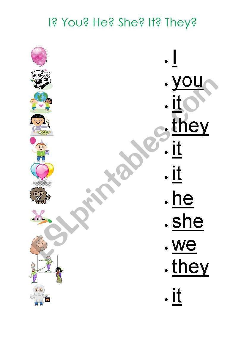 Pronouns Worksheet for Kids