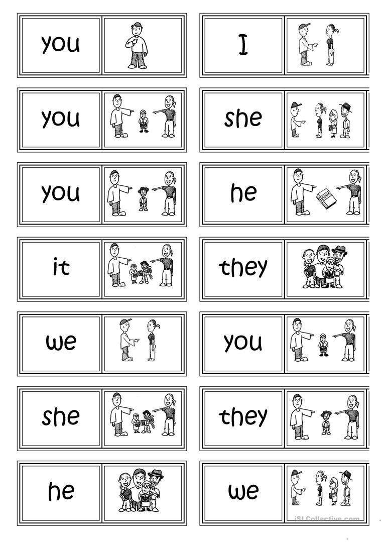 Pronoun Worksheets for Kindergarten Free Subject Pronouns Domino Worksheet Free Esl Printable