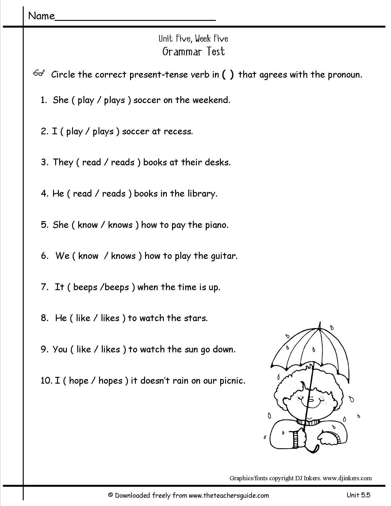 free pronoun worksheet for 2nd grade