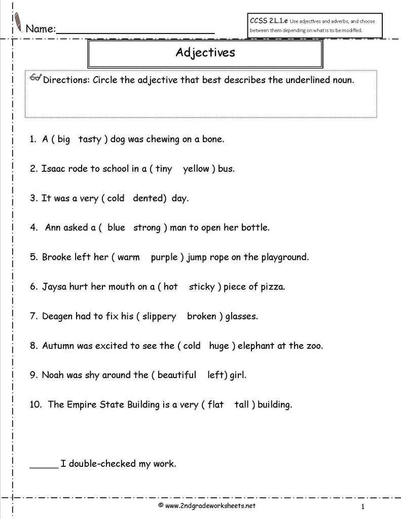 Pronoun Worksheets Second Grade Pronoun Agreement Quiz Beautiful Second Grade Adjective Word
