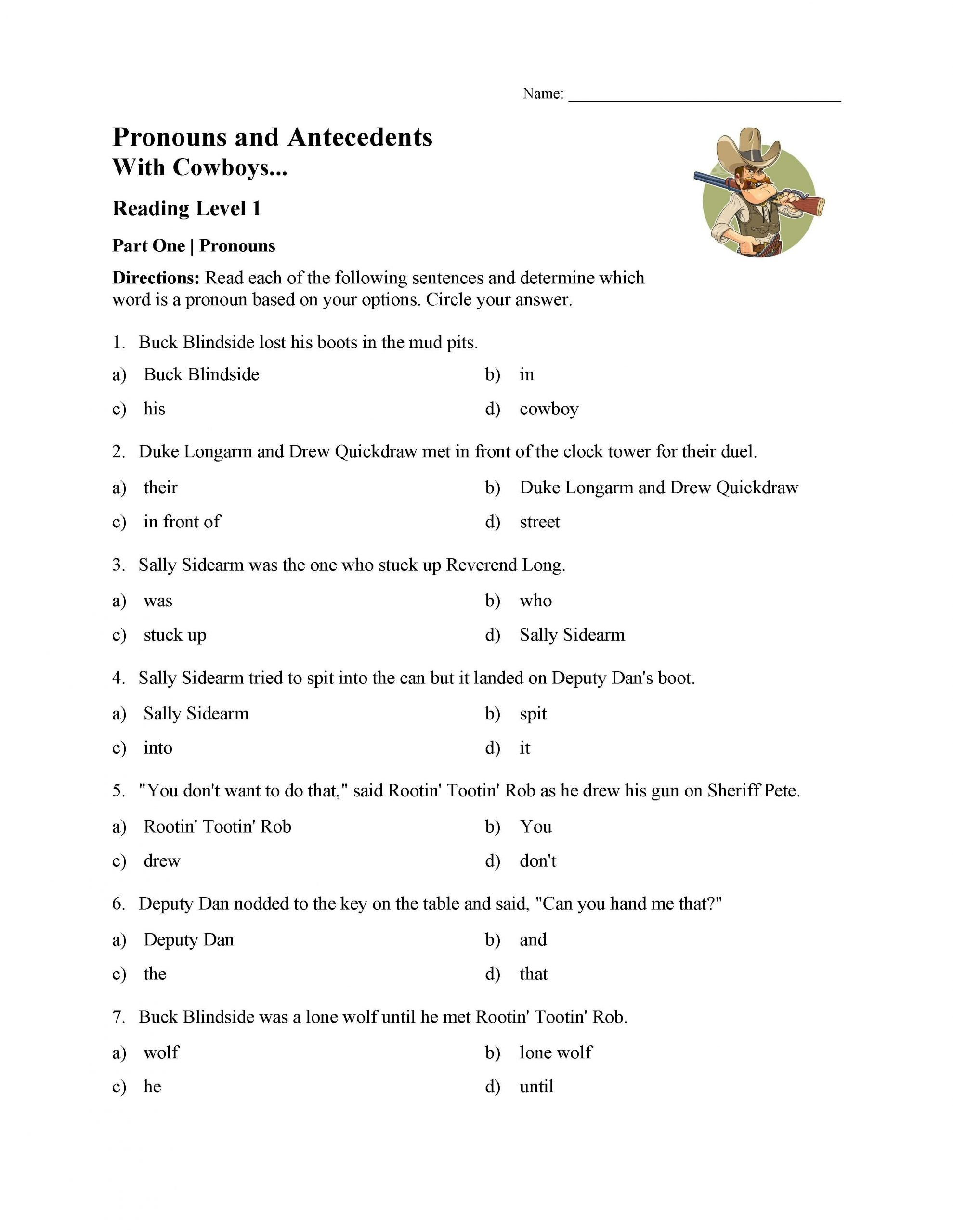 pronouns and antecedents worksheet reading level 01 01