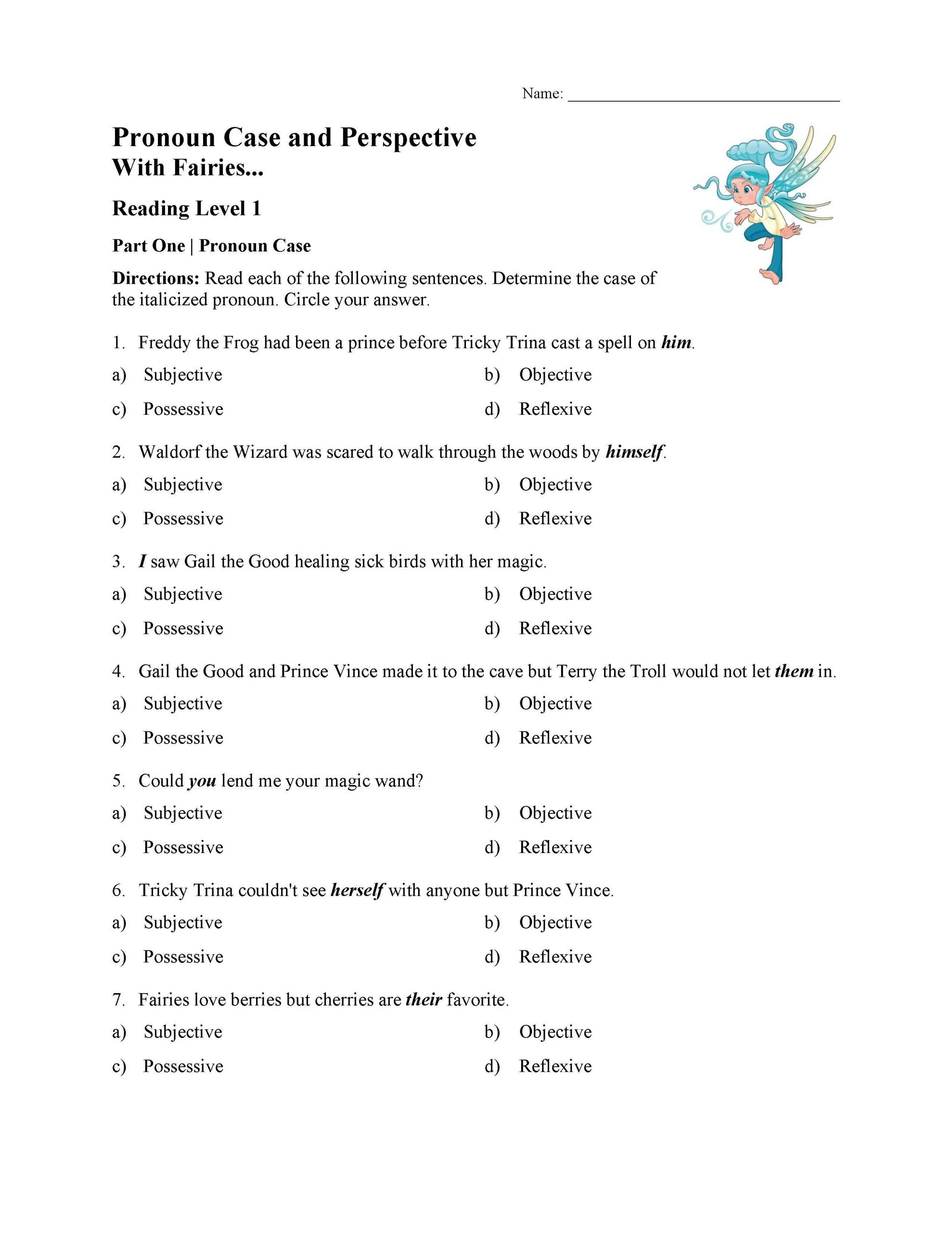 pronoun case and perspective worksheet reading level 01 01