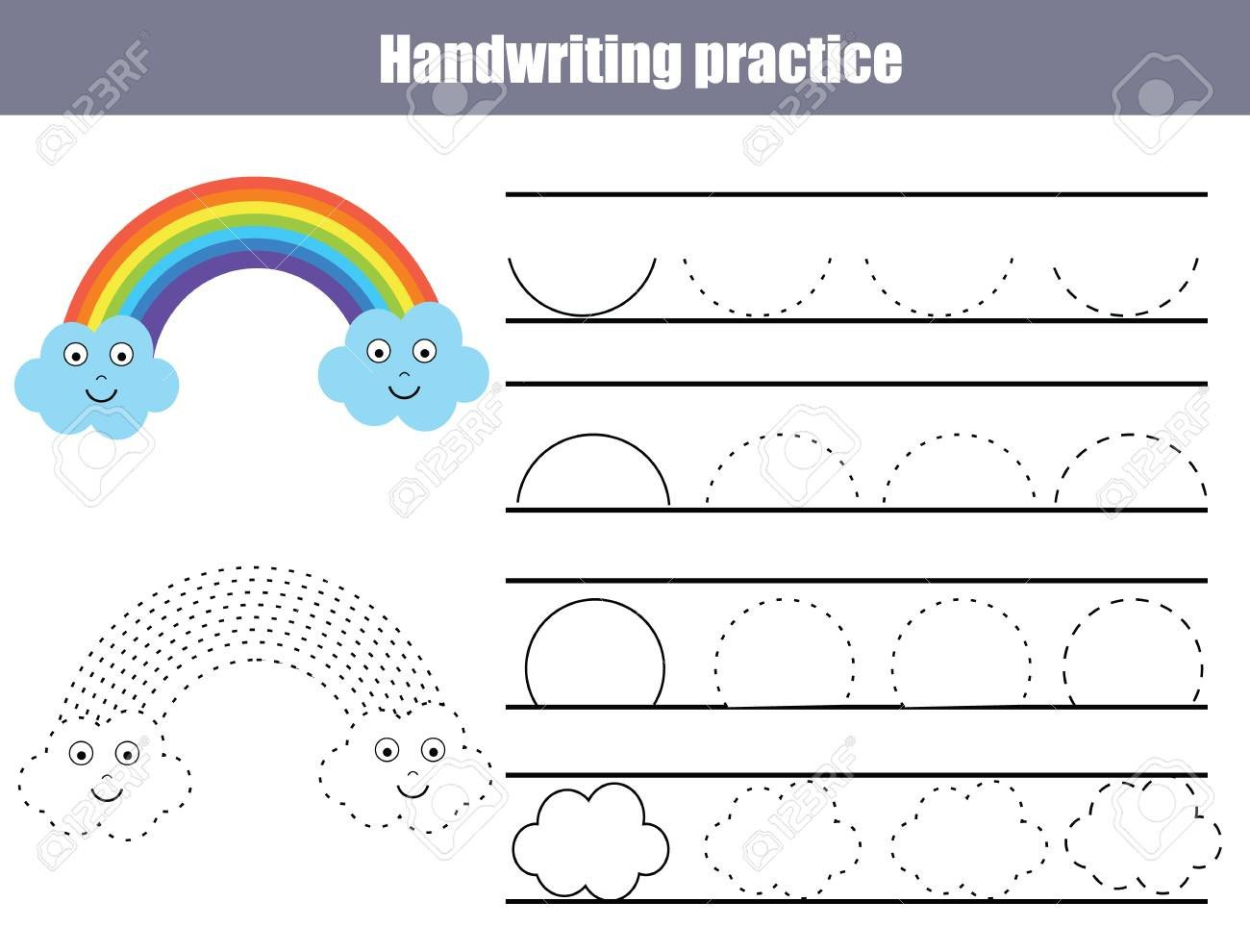 Rainbow Writing Worksheet Handwriting Practice Sheet Educational Children Game Printable