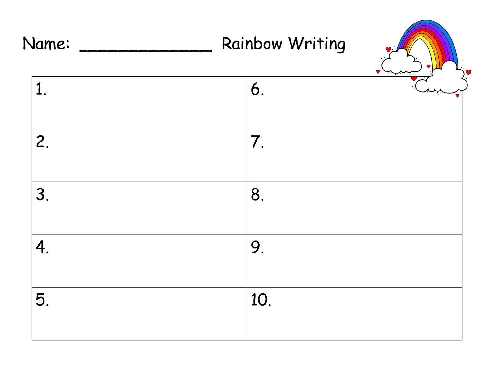 Rainbow Writing Worksheet Monkey Business First Grade Style Time Away to Create
