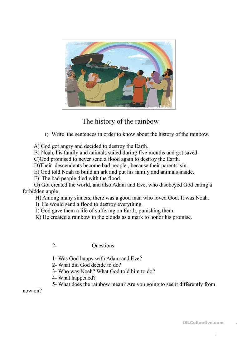 Rainbow Writing Worksheet the History Of the Rainbow English Esl Worksheets for